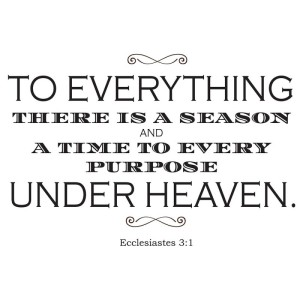 To Everything there is a season: Ecclesiastes 3